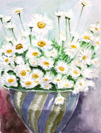 white daisy bunch watercolors