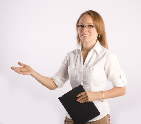 confident smiling businesswoman consulting on business  Stock Photo - 9820206