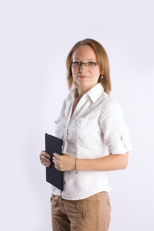 confident smiling businesswoman consulting on business