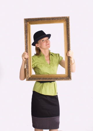 businesswoman in art frame smiling