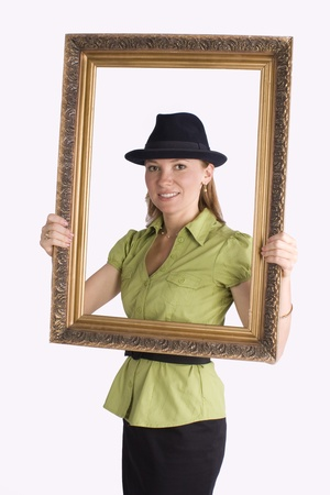 businesswoman in art frame smiling Stock Photo - 10019234