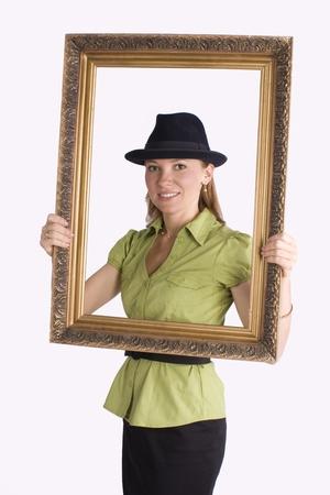 businesswoman in art frame smiling Stock Photo - 10019234