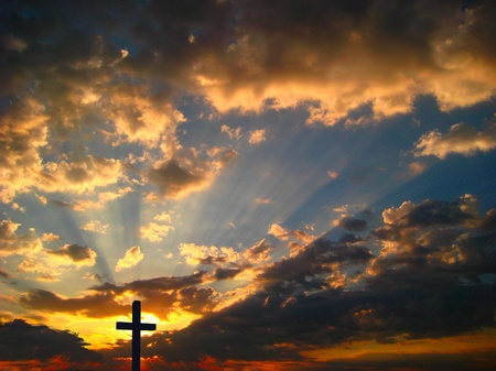 good heavens: cross rays sunset and Jesus Stock Photo