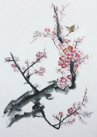 purple leaf plum: asian plum tree blossom watercolor