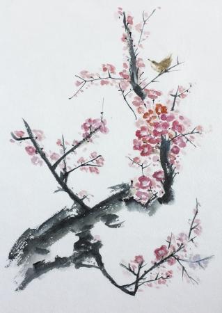 Aziatische pruimenboom bloesem aquarel