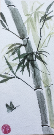 chinese watercolor: asian bamboo watercolor and butterfly Stock Photo