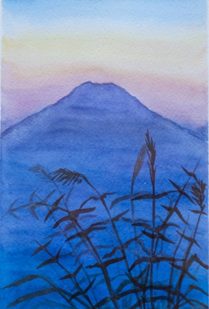 fuji sunset and twilight watercolor