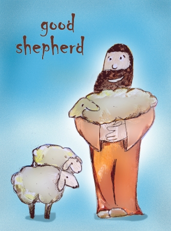 lamb of god: God is a good shepherd, He cares about us always looking for one who is lost and is joyful when saves a soul Stock Photo