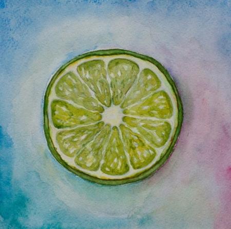 aquarelle citron vert sur fond bleu Banque d'images