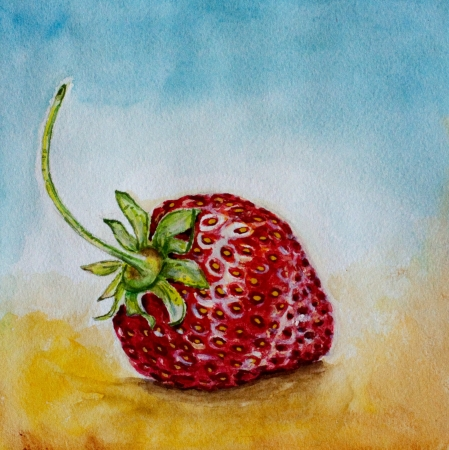 red ripe strawberry watercolor on blue background