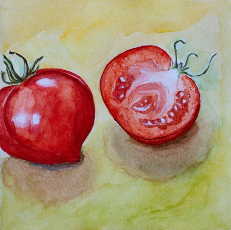 red ripe tomatos watercolor on yellow background Stock Photo