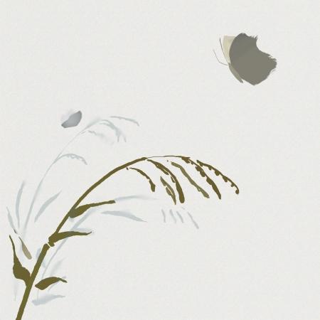 aquarelle de plantes et de papillons dans le style asiatique