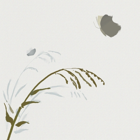 watercolour of plant and butterfly in asian style