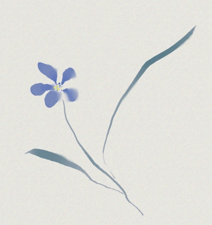 japanese watercolour sumi-e of a blue flower