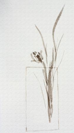 Japanse aquarel sumi-e van een blauwe bloem