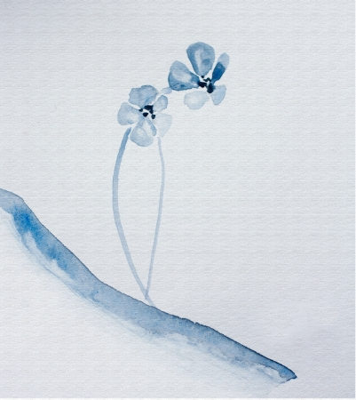 japanese watercolour sumi-e of a blue flower Stock Photo - 21173105