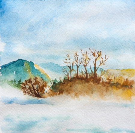 peaceful landscape and river watercolor Stock Photo