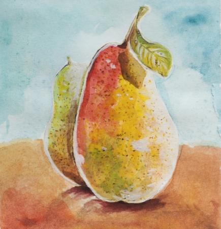 poires mûres aquarelle conception de la peinture à la main