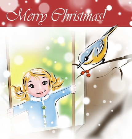 bird giving Christmas gift to a girl Stock Photo - 21286414