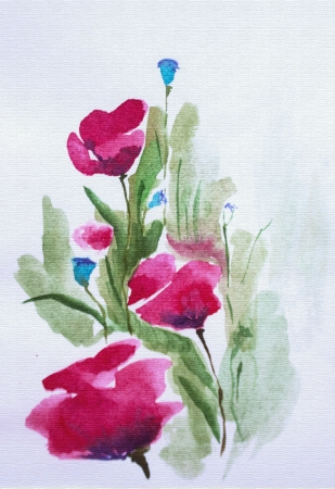 Bright poppies in field. Summer floral watercolor
