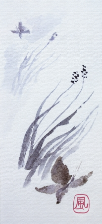 Butterfly and wind traditional japanese watercolor