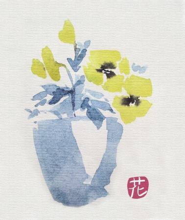 pensées dans une aquarelle de pot en bleu et jaune