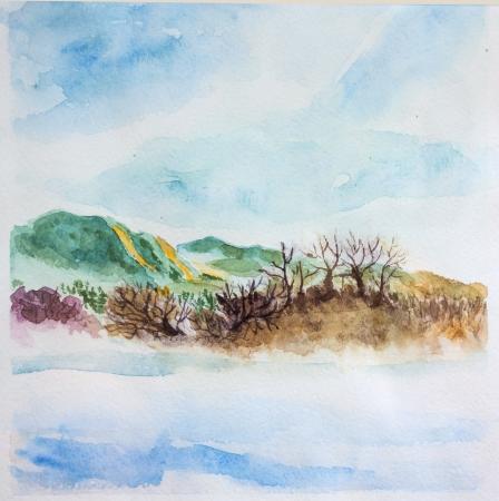 spring landscape watercolor. Trees, river, sky