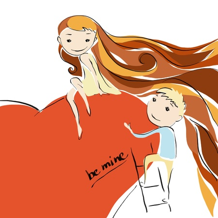 girl and boy in love  Flirting  Proposal  Stock Photo