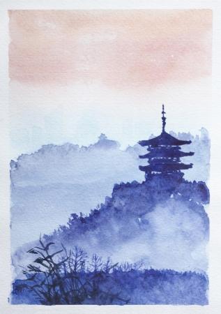 Tempel, bos en dageraad. Traditionele Aziatische aquarel