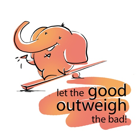 outweigh: Elephant outweigh wish. Good outweigh bad. Humoristic card.