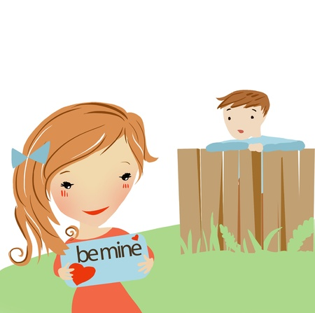 Love letter boy sent for a girl. The boy is watching her reading romantic message. Banque d'images
