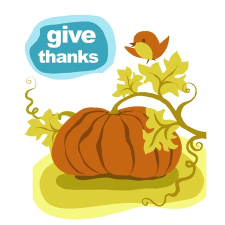 Thanksgiving pumpkin. Greeting card. Give thanks to the Lord for His blessing and harvest. Stock Photo