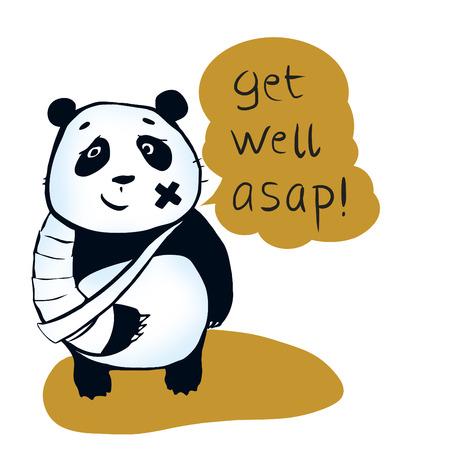 Si vous êtes malade, peut ours panda encouragez vous obtenez bien plus vite! Panda souhait vous étiez en bonne santé et joyeux. Profitez de votre vie! Banque d'images