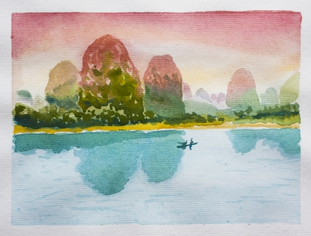 Chinese landscape watercolor. Silent mountains, sunset sky and calm river
