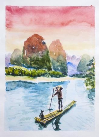 Montagnes chinois paysage aquarelle. Fleuve tranquille et bateau de pêche solitaire