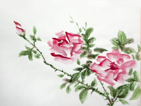 aquarelle de roses rouges asiatique de plus en plus dans le jardin Banque d'images