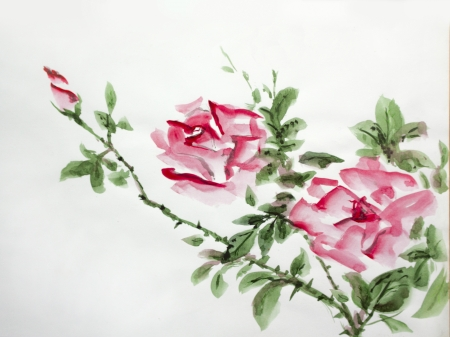 red roses asian watercolor growing in garden Stock Photo