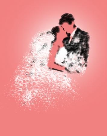 Beautiful bride and elegant groom. Wedding kiss