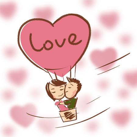 Quand l'amour vous vous sentez comme dans le ciel. Le bonheur et la joie dans votre c?ur Banque d'images