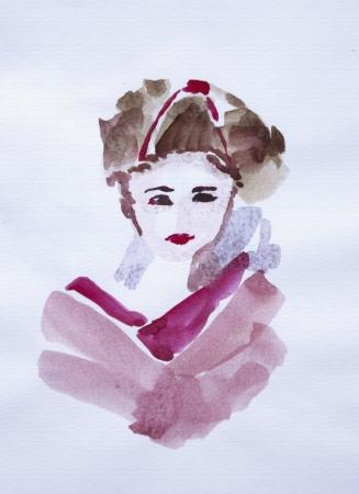 Beautiful japanese geisha girl watercolor