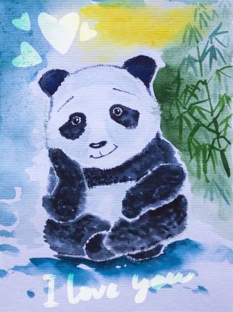 Panda géant aquarelle mignon Rêver de bambou