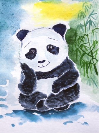 Cute giant panda watercolor  Dreaming of bamboo Banque d'images