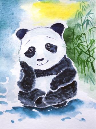 Cute giant panda watercolor  Dreaming of bamboo Stock Photo
