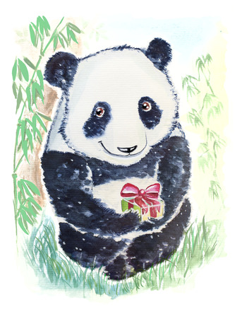 Cute and smiling panda bear wishes you Happy birthday and gives a gift Banque d'images