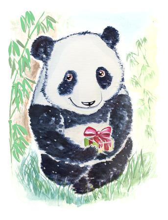 Mignon et souriant ours panda vous souhaite Joyeux anniversaire et donne un cadeau