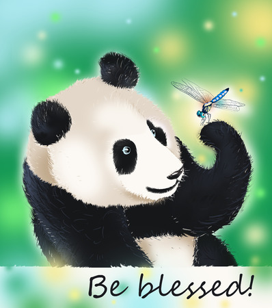 kind hearted: Panda amazed at dragonfly beauty