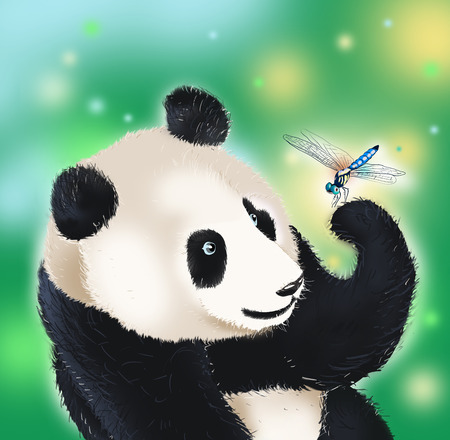 kind hearted: panda bear amazed at dragonfly