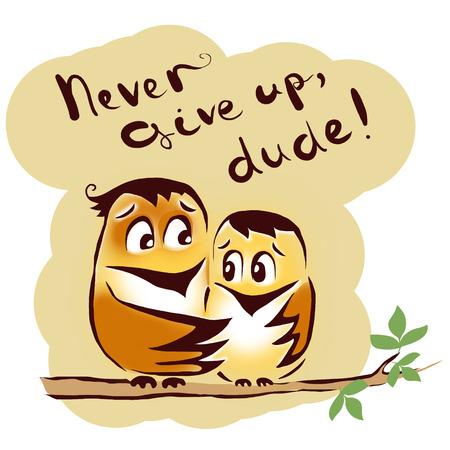 low spirited: bird encouraging friend