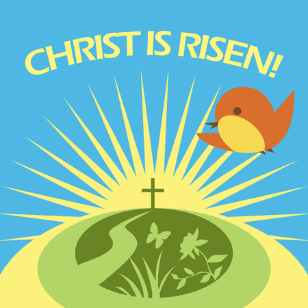 Christ is risen greeting card. Spting sunshine