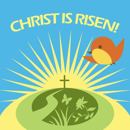Le Christ est ressuscité carte de voeux. Soleil spting Banque d'images